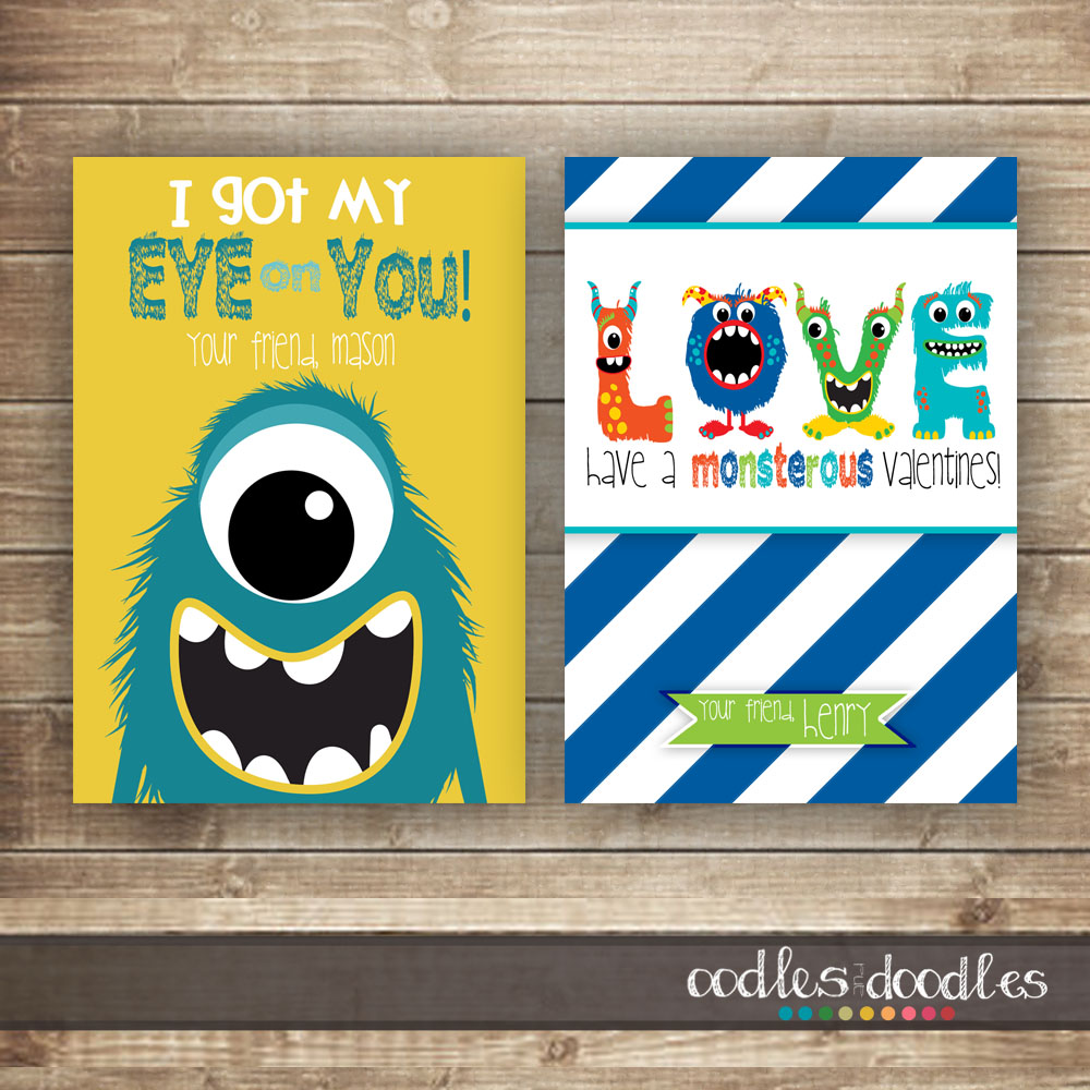 Boy's Valentine's Day Printable Valentines by Oodles and Doodles, OandD