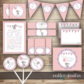 Bunny Birthday Party , Pink & Purple Spring and Easter Party for Girls by Oodles and Doodles