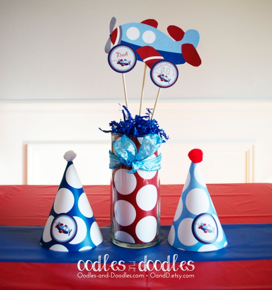 Boy's Airplane Birthday Party in Blue and Red by Oodles and Doodles, OandD
