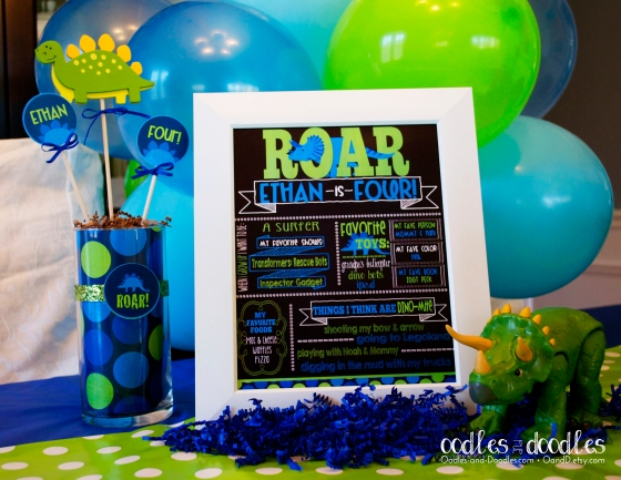 ROAR Dinosaur Birthday Chalkboard Poster by Oodles and Doodles, OandD