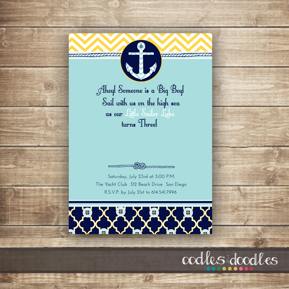 Nautical Party Invitation Oodles and Doodles OandD