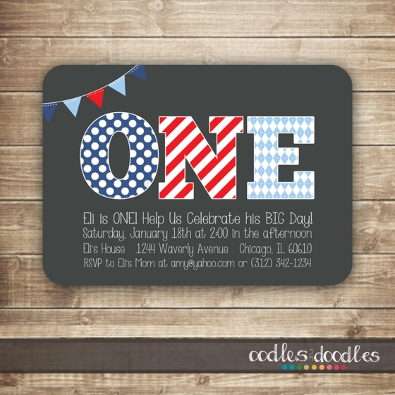 First Birthday Printable Invitation by Oodles and Doodles, OandD | Red, White & Blue