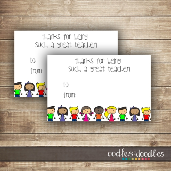 Printable Teacher Gift Tags by Oodles and Doodles, OandD