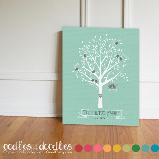 Family Tree Print, Family Tree Canvas Print by Oodles and Doodles, OandD