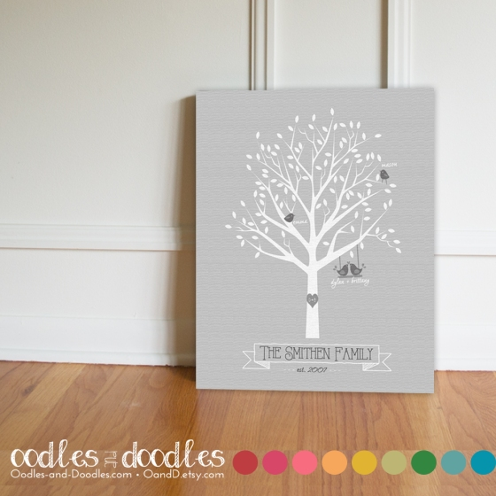 Family Tree, Canvas Print, Personalized Family Tree, Family Tree Gifts | Oodles and Doodles, OandD