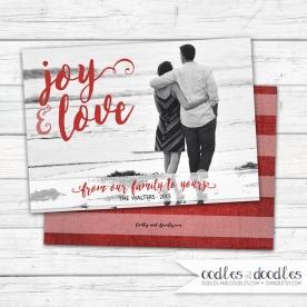 Xmas Card Joy Red Stripes