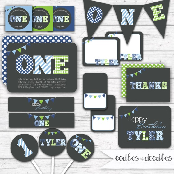 first birthday party, boy's first birthday party in blue and green, ONE by oodles and doodles