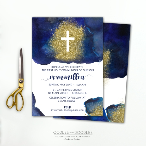 navy and gold first communion invitation, oodles and doodles