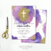 First Communion PINK and PURPLE invite p1