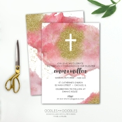 First Communion PINK invite p1