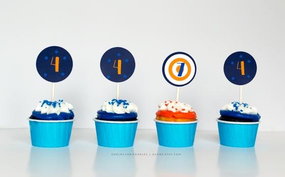 Blue and Orange Cupcakes