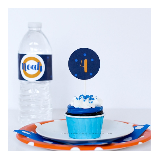 Dart Gun Water Bottle Label and Cupcake Toppers