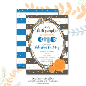 Pumpkin bday invite BOY NO PHOTO p1