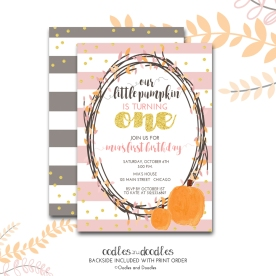 Pumpkin bday invite PINK NO PHOTO p1