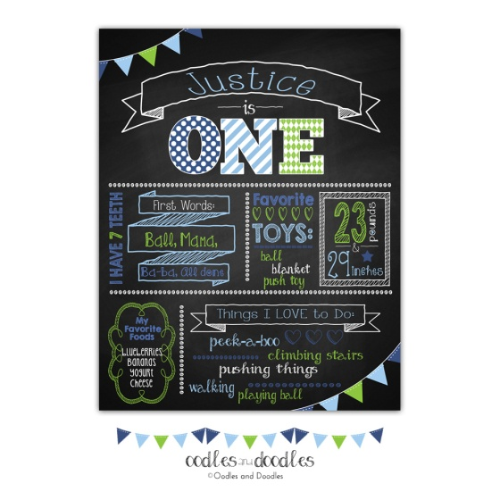 First Year Milestones Birthday Poster