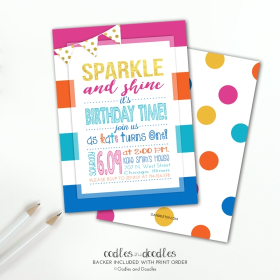 Sparkle Rainbow bday invite p1