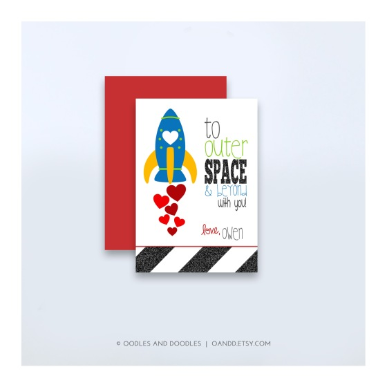 Printable Rocket Valentines for boys